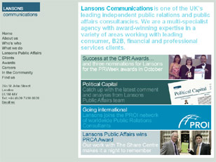 Lansons Communications home page image